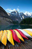 Kayak. Several kayak on a pier, prepared for hikers Royalty Free Stock Photography