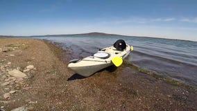 Kayak on the shore in Australia stock video