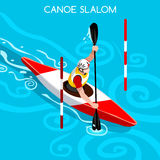 Kayak Slalom Canoe Summer Games Icon Set.3D Isometric Canoeist Paddler.Slalom Kayak Sporting Competition Race Royalty Free Stock Images