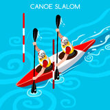 Kayak Slalom Double Canoe Summer Games Icon Set.3D Isometric. Canoeist Paddler.Slalom Kayak Sporting Competition Race.Olympics Sport Infographic Kayak Slalom Stock Image