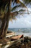 Kayak small fishing boats Caribbean Sea Big Corn Island Nicaragu Royalty Free Stock Images
