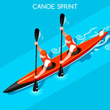 Kayak Sprint Double Summer Games Icon Set.3D Isometric Canoeist Paddler. Royalty Free Stock Image