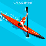 Kayak Sprint Summer Games Icon Set.3D Isometric Canoeist Paddler.Sprint Kayak Sporting Competition Race Royalty Free Stock Photo