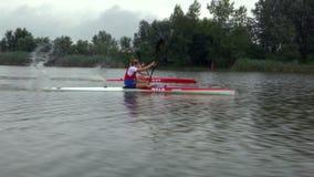 Kayak sprint training stock video footage
