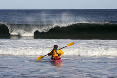 Kayak surfing Stock Images