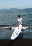 Kayak. Teenagers were playing kayak on a beach in Banyuwangi, East Java, Indonesia stock photo