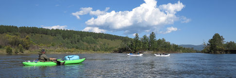 Kayak trip down the river in wilderness Royalty Free Stock Image