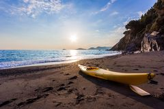 Kayak. Trip in the Mediterranean Sea stock photography