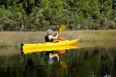 Kayak trip on New Zealand`s west coast stock photos