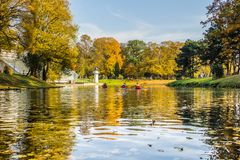 Kayak trip on the river Daugava and the canal around the old cit. Y, closing the season on October 13, 2018 royalty free stock photography