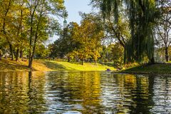 Kayak trip on the river Daugava and the canal around the old cit. Y, closing the season on October 13, 2018 stock image