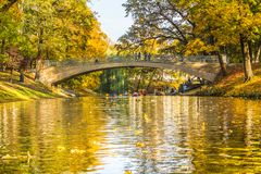 Kayak trip on the river Daugava and the canal around the old cit. Y, closing the season on October 13, 2018 royalty free stock images