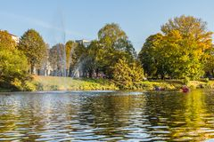 Kayak trip on the river Daugava and the canal around the old cit. Y, closing the season on October 13, 2018 royalty free stock image