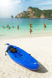 Kayak on a tropical beach, holidays concept. Stock Images