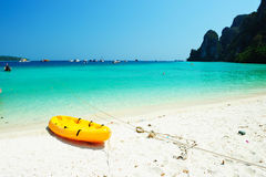 Kayak on the tropical beach, Phi-Phi Don island Royalty Free Stock Images