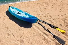 Kayak at the tropical beach. Water sport during Stock Photos