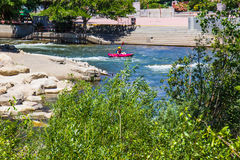 Kayak On Truckee River Near River Walk, Reno, Nevada Stock Image