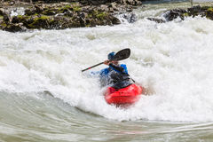 Kayak in whitewater Royalty Free Stock Images
