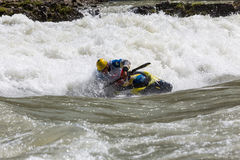 Kayak in whitewater Stock Images