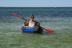 Kayak Woman and Dog Stock Photos