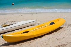 Kayak. Yellow kayak on the beautiful white sandy beaches Stock Images