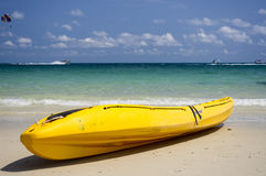 Yellow kayak and sea. A yellow kayak on ocean background Royalty Free Stock Image