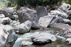 Kayaker on cangrejal river, honduras Stock Photography