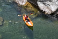 Kayaker on the Canrejal river in Pico Bonito national park Royalty Free Stock Images