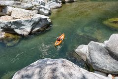Kayaker on the Canrejal river in Pico Bonito national park Stock Images