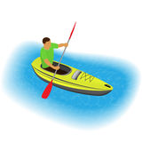 Kayaker character paddling on a kayak. Sports traveling man with paddle boating on canoe through river or sea. Royalty Free Stock Photography