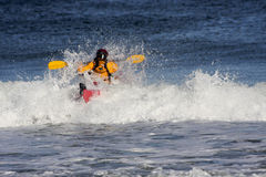 Kayaker on the crest of a wave Stock Images