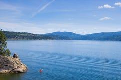 Kayaker d'Alene de d de Coeur de lac Photos stock
