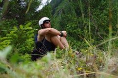 Kayaker de reclinación Imagen de archivo libre de regalías