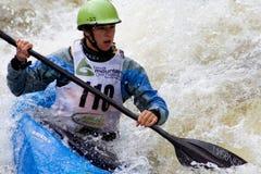 Kayaker de Whitewater Imagem de Stock