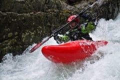 Kayaker dell'acqua bianca Fotografia Stock
