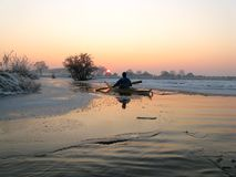 Kayaker en glace Photographie stock