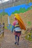 Kayaker en la trayectoria en Tallulah Falls Imagen de archivo libre de regalías