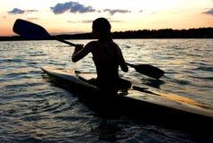 Kayaker femenino Fotografía de archivo