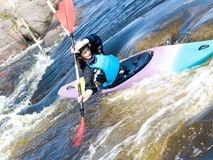 Kayaker femenino Fotografía de archivo libre de regalías