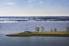 Kayaker on Flooded Mississippi River Royalty Free Stock Photo