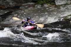 Kayaker in Hudson River White Water Derby, insenatura del nord, nuova Fotografia Stock Libera da Diritti