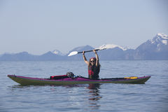 Kayaker in Humpy Cove Royalty Free Stock Image