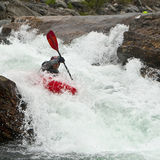 Kayaker In The Waterfall Stock Photo