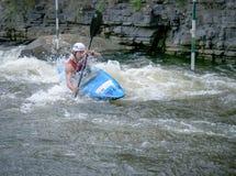 Kayaker intenso Immagini Stock