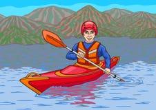 Kayaker jest w wodnej kampanii Obraz Stock