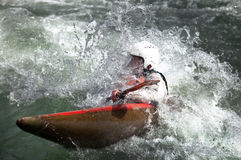 Kayaker maneuvering Royalty Free Stock Photos