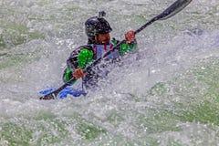 Kayaker na água áspera #2 Foto de Stock Royalty Free