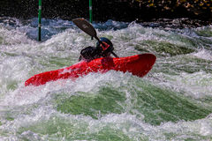 Kayaker na água áspera #4 Foto de Stock Royalty Free