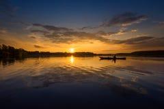 Kayaker na jeziorze Fotografia Stock