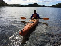 Kayaker. In Nain Newfoundland and Labrador stock photo